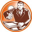Businessman Magnifying Glass Looking Documents — Vektorgrafik