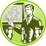 işadamı sunan boardroom gravür — Stok Vektör