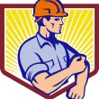 Construction Worker Rolling Up Sleeve Retro — Stock Vector