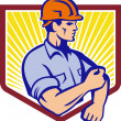 Construction Worker Rolling Up Sleeve Retro — Stock Vector #30373591