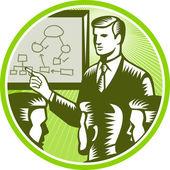 бизнесмен, представляя boardroom ксилография — Cтоковый вектор