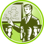 Businessman Presenting Boardroom Woodcut — Stock Vector