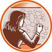 Teacher Businesswoman Writing Mind Mapping Complex Diagram — Stock Vector