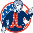 Uncle Sam American Pointing Finger Flag Retro — Stock Vector