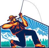 Fly Fisherman Reeling Fishing Rod Retro — Stock Vector