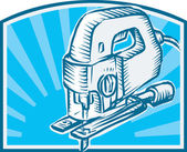 Jigsaw Power Tool Woodcut Retro — Stockvector
