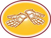 Dělník nástroj rukavice retro — Stock vektor