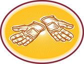 Işçi programı eldiven retro — Stok Vektör