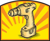 Cordless Drill Power Tool Woodcut Retro — Stockvector