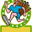 Turkey Run Runner Side Cartoon — Stock Vector
