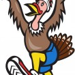 Turkey Run Runner Cartoon Isolated — Stockvektor