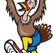 Turkey Run Runner Cartoon Isolated — Vector de stock