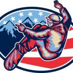 American Snowboarder Jumping Snowboard Retro — Stock Vector #31082491