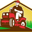 Stockvektor : Gardener Landscaper Ride On Lawn Mower Retro