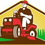 Gärtner Landschaftsgärtner auf Rasenmäher retro fahren — Stockvektor