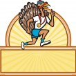 Turkey Run Runner Side Cartoon Isolated — Stock Vector
