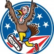 American Turkey Run Runner Cartoon — Stockvektor