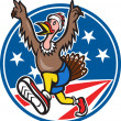 American Turkey Run Runner Cartoon — Vector de stock