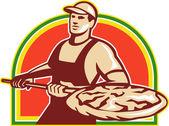 Piekarz gospodarstwa skórki z pizzę retro — Wektor stockowy
