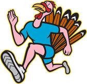 Turkey Run Runner Side Cartoon Isolated — Stock Vector