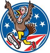 American Turkey Run Runner Cartoon — Stock Vector