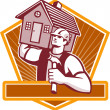 Builder Carpenter Carry House Retro — Imagen vectorial