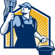 Stock Vector: Janitor Cleaner Holding Mop Bucket Retro