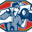 Automotive Mechanic Car Repair Retro — Vecteur #31322065