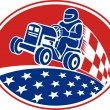 Vector de stock : Ride On Lawn Mower Racing Retro