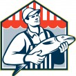 Stock Vector: Fishmonger Holding Fish Retro