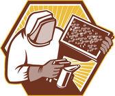 Beekeeper Apiarist Holding Bee Brood Retro — Stock Vector