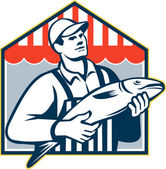 Fishmonger Holding Fish Retro — Stock Vector