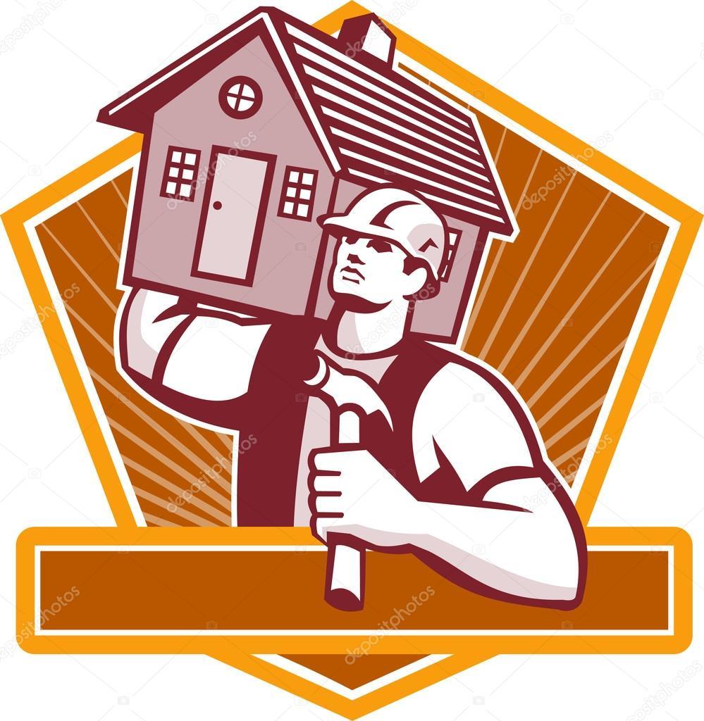 Carpintero constructor llevar retro house vector de - Constructor de casas ...