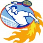 Постер, плакат: Tennis Player Racquet Retro