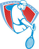 Tennis Player Racquet Shield Retro — Stock Vector