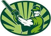 Jardinero paisajista cortasetos retro — Vector de stock
