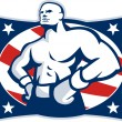 Stock Vector: Champion AmericBoxer Akimbo Retro