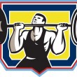 Weightlifter Lifting Heavy Barbell Retro — Stock Vector