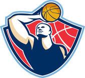 Basket-ball joueur meilleur rebondeur bal rétro — Vecteur