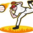 Baseball Pitcher Throwing Ball On Fire — Stock Vector
