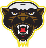 Honey Badger Mascot Head — Stock Vector