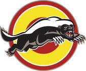 Honey Badger Mascot Leaping Circle — Stock Vector