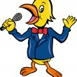 Bird singing karaoke with microphone in business suit — Stock Vector