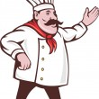 Cartoon Italian chef with mustache saying hello — Stock Vector