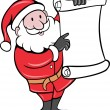 Father Christmas Santa Claus standing with paper scroll list — Vettoriali Stock