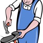 Shoemaker , cobbler shoe repair working — Stock Vector #33206325