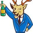 Cartoon deer holding champagne wine bottle in business suit — Stock Vector