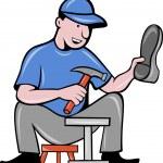 Shoemaker , cobbler shoe repair working — Stock Vector #33206867