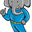 Cartoon elephant busboy — Stock Vector