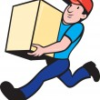 Delivery person worker running delivering box — Stock Vector